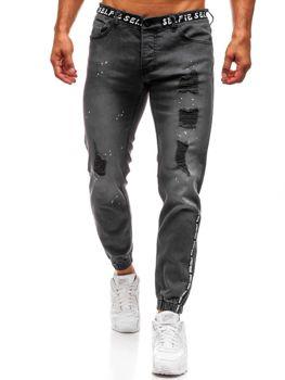 Antracitové pánské džínové jogger kalhoty Bolf 2042