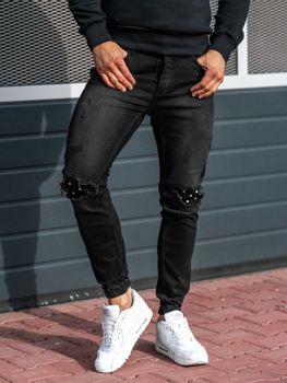 Antracitové pánské džínové jogger kalhoty Bolf 2044-1