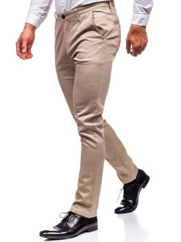 Béžové pánské chino kalhoty Bolf KA969