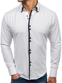 Bílá pánská elegantní košile s dlouhým rukávem Bolf 1721-A
