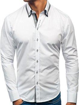 Bílá pánská elegantní košile s dlouhým rukávem Bolf 3704-1