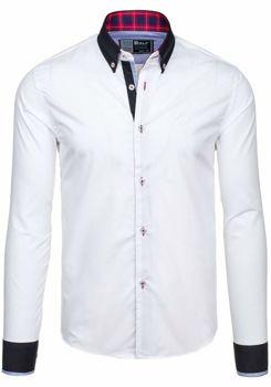 Bílá pánská elegantní košile s dlouhým rukávem Bolf 5766