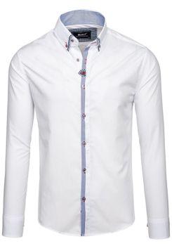 Bílá pánská elegantní košile s dlouhým rukávem Bolf 6949