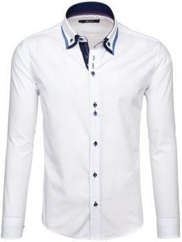 Bílá pánská elegantní košile s dlouhým rukávem Bolf 6953