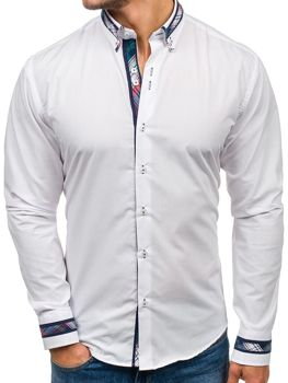 Bílá pánská elegantní košile s dlouhým rukávem Bolf 6961