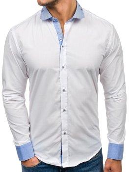 Bílá pánská elegantní košile s dlouhým rukávem Bolf 6962