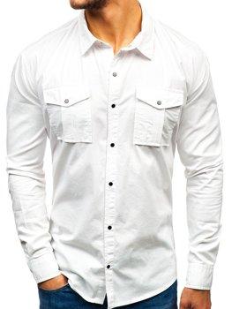 Bílá pánská košile s dlouhým rukávem Bolf 2058-1