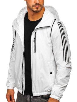 Bílá pánská p?echodová sportovní bunda s kapucí Bolf 6172