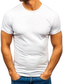 Bílé pánské tričko bez potisku Bolf 0001