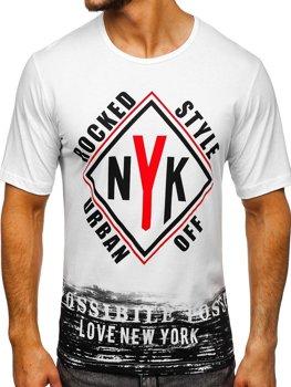 Bílé pánské tričko s potiskem Bolf 6305
