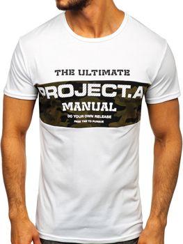 Bílé pánské tričko s potiskem Bolf SS10938