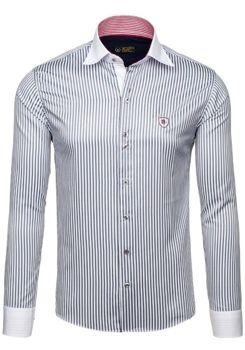 Bílo-šedá pánská elegantní pruhovaná košile s dlouhým rukávem Bolf 4784