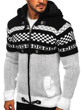 Bílý pánský silný svetr na zip s kapucí bunda Bolf 2061