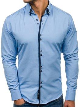 Blankytná pánská elegantní košile s dlouhým rukávem Bolf 1721-A