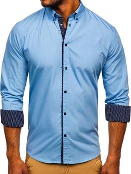 Blankytná pánská elegantní košile s dlouhým rukávem Bolf 7724