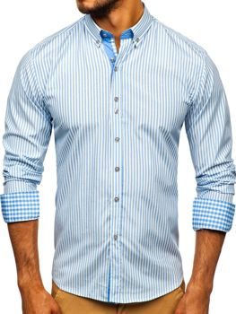 Blankytná pánská proužkovaná košile s dlouhým rukávem Bolf 9771