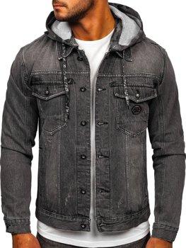 Černá pánská džínová bunda s kapucí Bolf RB9900-1