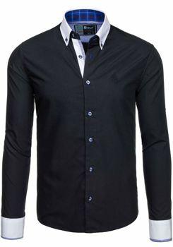 Černá pánská elegantní košile s dlouhým rukávem Bolf 5766