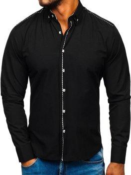 Černá pánská elegantní košile s dlouhým rukávem Bolf 6920
