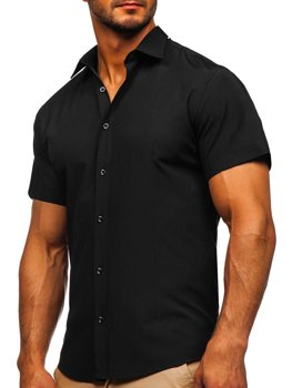 Černá pánská košile s krátkým rukávem Bolf 17501