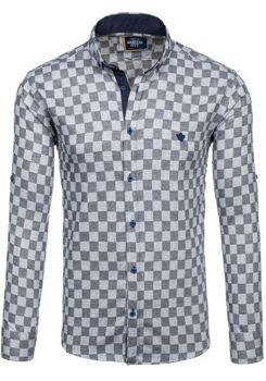 9ea6559906d Černá pánská kostkovaná košile s dlouhým rukávem Bolf 01