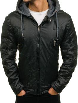 Černá pánská kožená bunda z ekokůže Bolf 3102