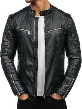 Černá pánská kožená bunda z ekokůže Bolf 9136