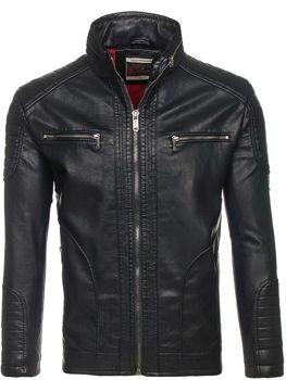 Černá pánská kožená bunda z ekokůže Bolf EX387