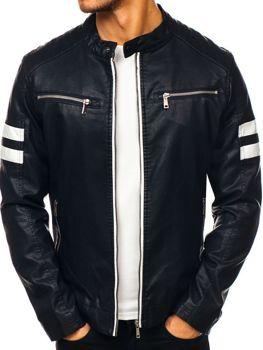 Černá pánská koženková bunda Bolf 1075-A