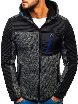 Černá pánská mikina na zip s kapucí Bolf 3003