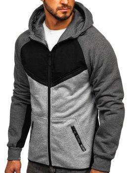 Černá pánská mikina na zip s kapucí Bolf 80688
