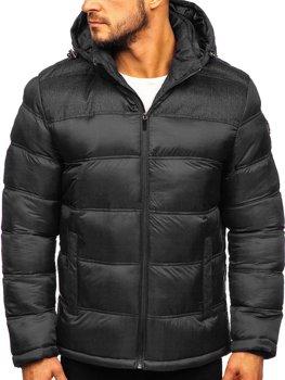 Černá pánská prošívaná sportovní zimní bunda Bolf AB72