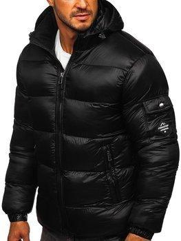 Černá pánská prošívaná zimní bunda Bolf AB64