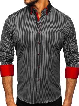 Černá pánská proužkovaná košile s dlouhým rukávem Bolf 2751