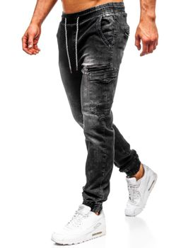 Černé pánské džínové jogger kalhoty Bolf KA687