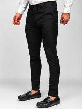 Černé pánské textilní chino kalhoty Bolf 0017