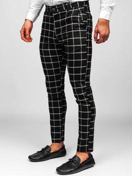 Černé pánské textilní karované chino kalhoty Bolf 0002