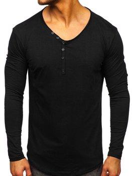 Černé pánské tričko s dlouhým rukávem bez potisku Bolf 5059