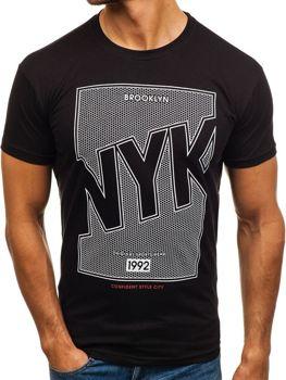 Černé pánské tričko s potiskem Bolf 0007