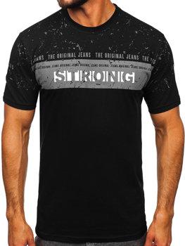 Černé pánské tričko s potiskem Bolf 14204