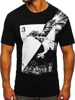 Černé pánské tričko s potiskem Bolf 142171