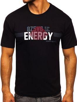 Černé pánské tričko s potiskem Bolf 14333