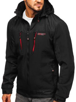 Černo-červená pánská softshellová bunda Bolf P185