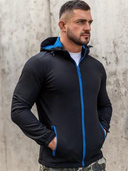 Černo-modrá pánská přechodová softshellová bunda Bolf HH017
