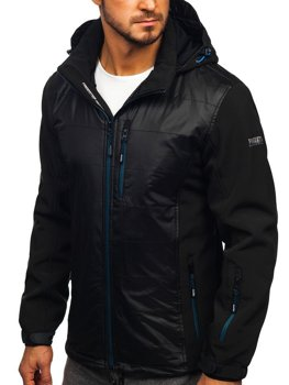 Černo-modrá pánská softshellová bunda Bolf 5680