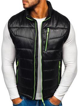 Černo-zelená pánská prošívaná vesta Bolf K002