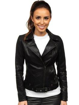 Černý dámský koženkový křivák bunda Bolf 2778