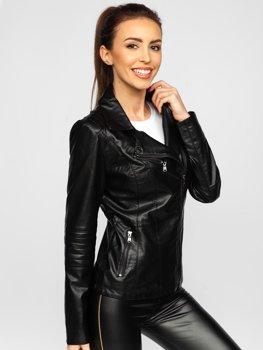 Černý dámský koženkový křivák bunda Bolf 621