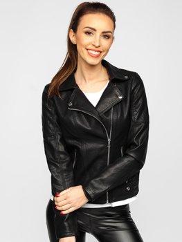 Černý dámský koženkový křivák bunda Bolf R210