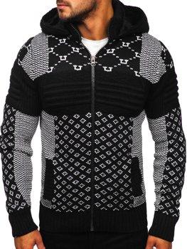 Černý pánský silný svetr na zip s kapucí bunda Bolf 2060